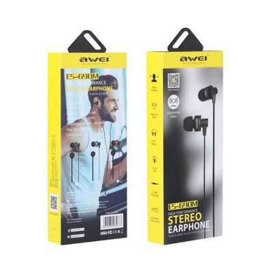 Handsfree In-Ear Headphones Awei ES-690m Jack-3.5mm for laptop tablet pc and for smartphone