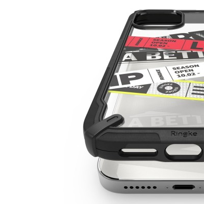 Ringke Fusion X Design durable PC Case with TPU Bumper for iPhone 12 Pro Max black (Ticket band)