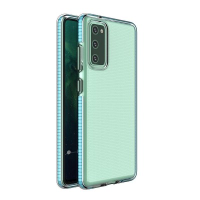 Spring Case clear TPU gel protective cover with colorful frame for Xiaomi Redmi Note 10 / Redmi Note 10S light blue