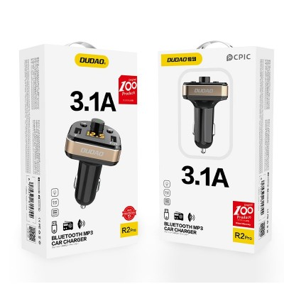 Dudao Bluetooth FM Transmitter MP3 Car Charger 2x USB 3.1 A black (R2Pro black)