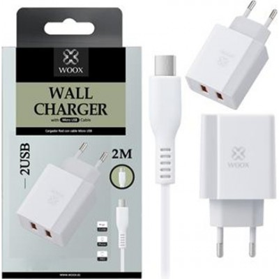Woox Travel Charger WA2509 Dual USB 2.4A with 2 meters Type-C White cable
