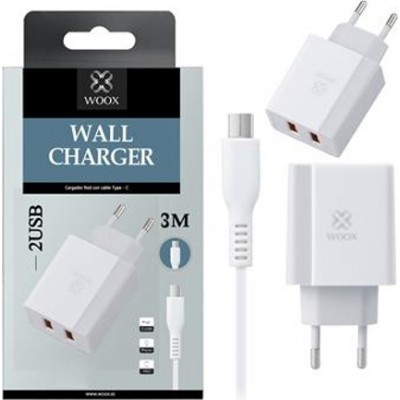 Woox WA2511 Dual USB x 2.1A with 3 meters Micro USB White and Black Cable Travel Charger